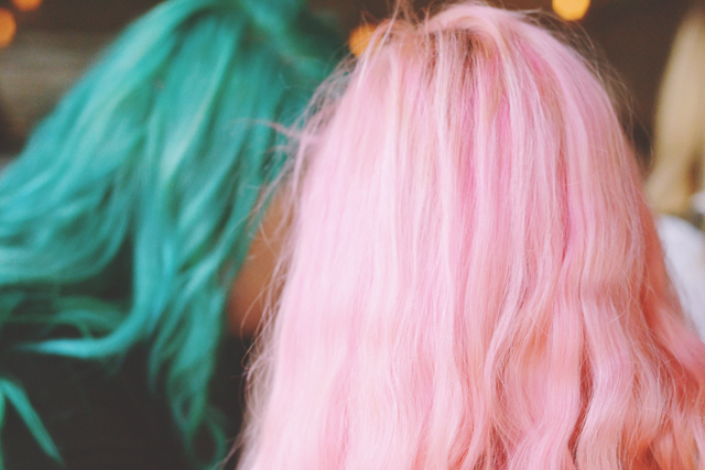 Pink hair and green hair