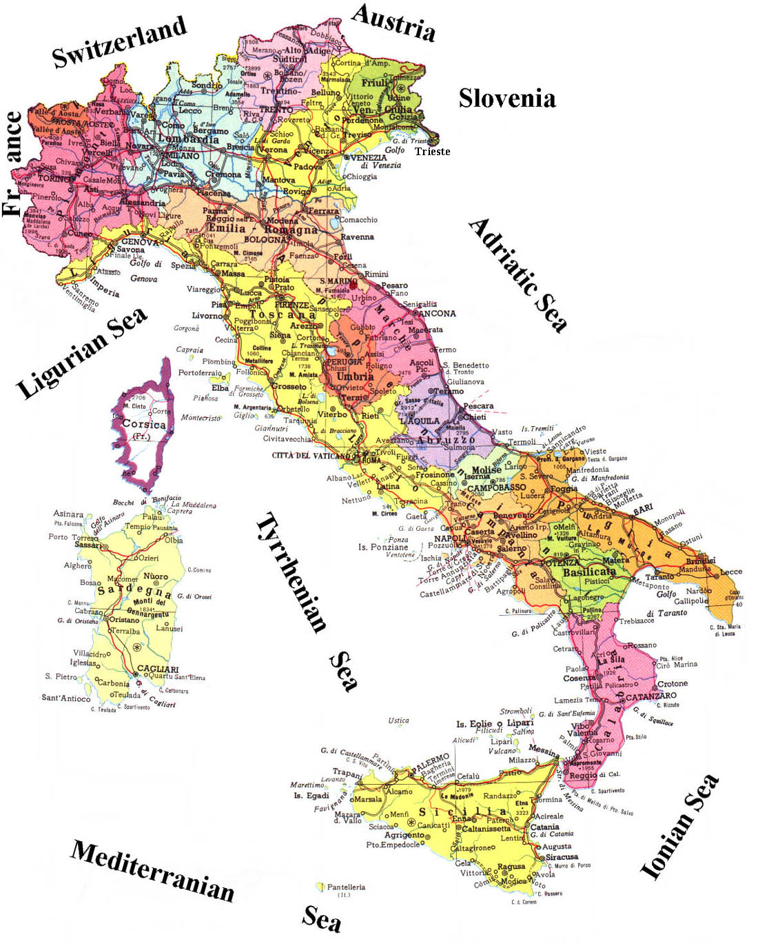 travel guide Map of Italy Country Area – Travel Map Of Italy