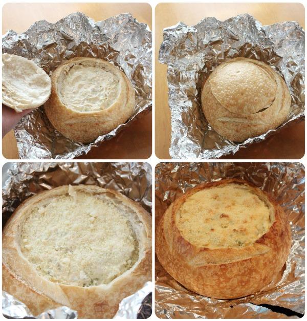 Creamy, Easy Artichoke Dip in Bread Bowl & Recipe Printable