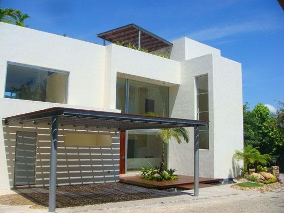 Fachadas minimalistas fachada de casa minimalista con for Casas pequenas estilo minimalista