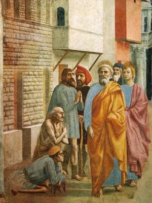 En la Imagen San Pedro pasa ante los enfermos y tullidos.