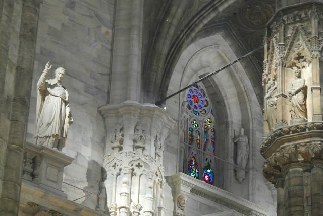 Pillars columns of the Duomo Cathedral Milan, Italy