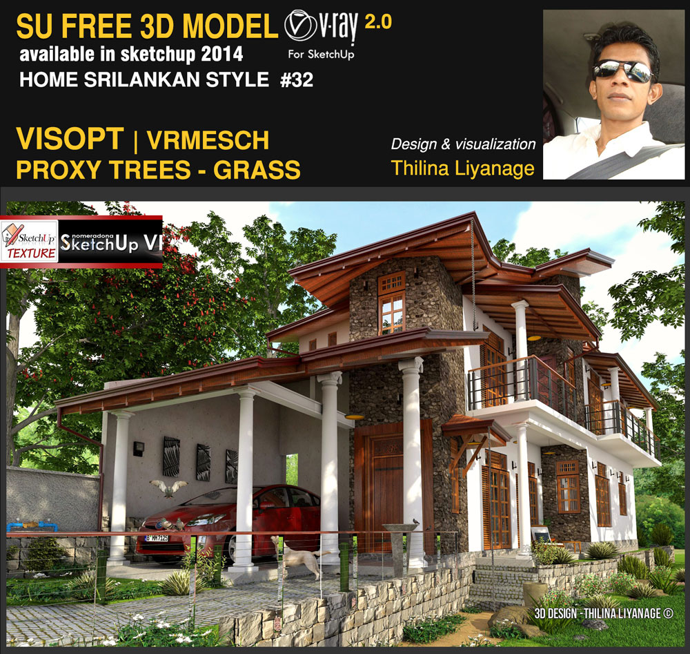 sketchup texture awesome free sketchup 3d model house sri lankan