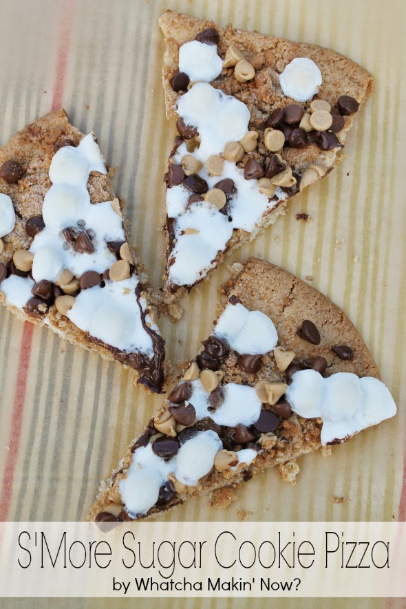 S'More Sugar Cookie Pizza - sugar cookie crust, graham cracker crumble, marshmallows, chocolate and peanut butter chips - WhatchaMakinNow.com
