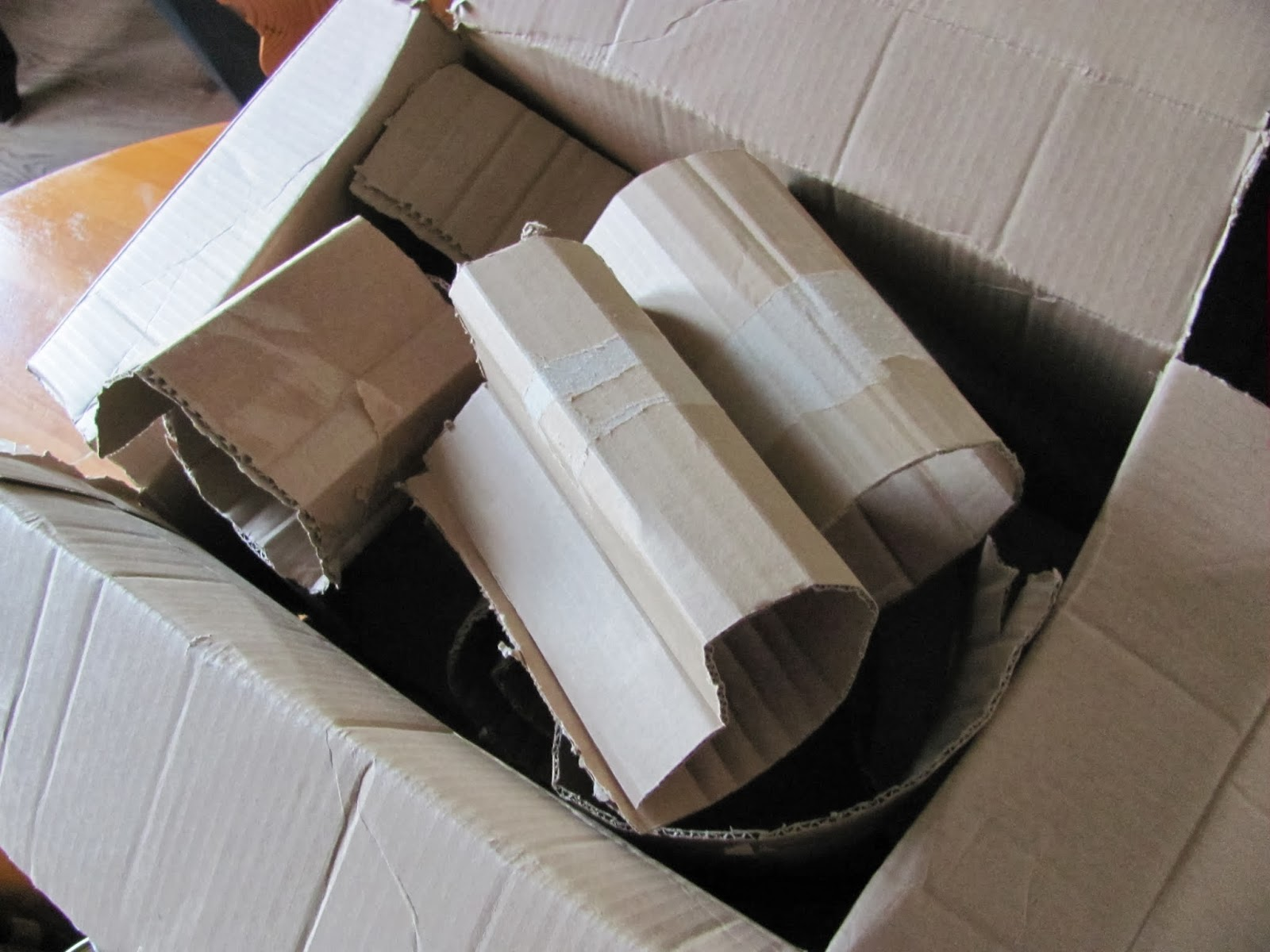 Cardboard packaging ready to burn
