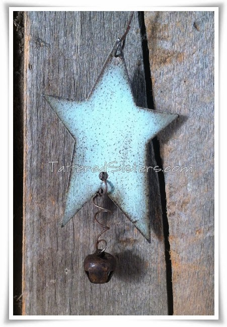 Rusty Tin Star Primitive Ornie