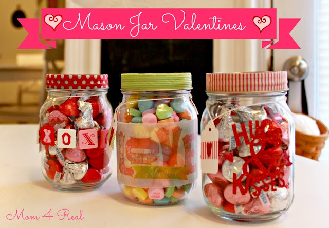 Mason Jar Valetine's with Washi Tape