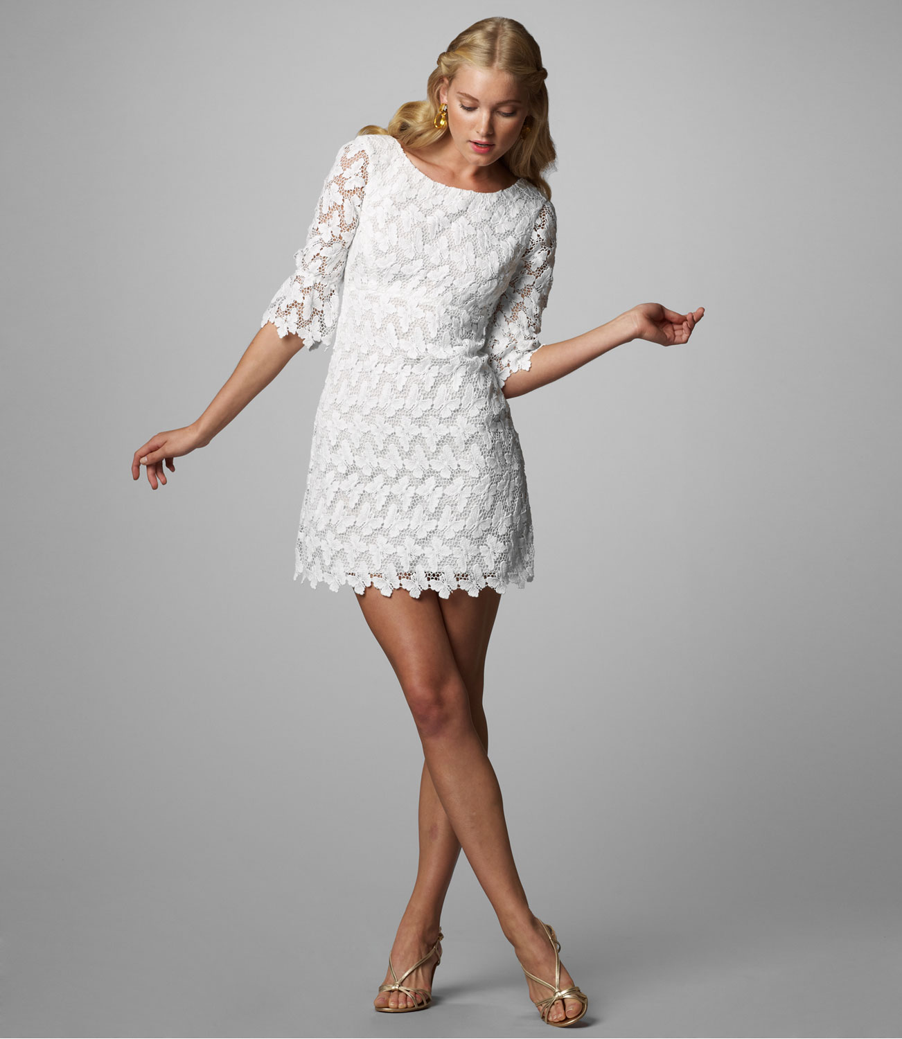 White Lace Dress And Shoes
