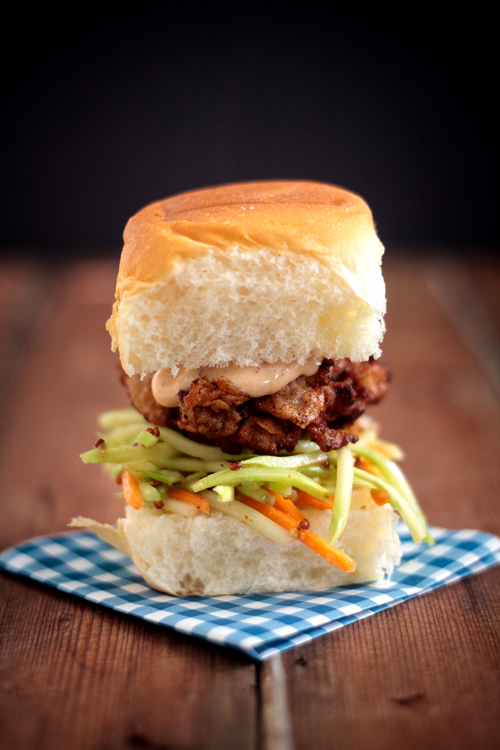 Red Shallot Kitchen: Oyster Po'Boy Sliders with Sweet & Tangy Broccol...