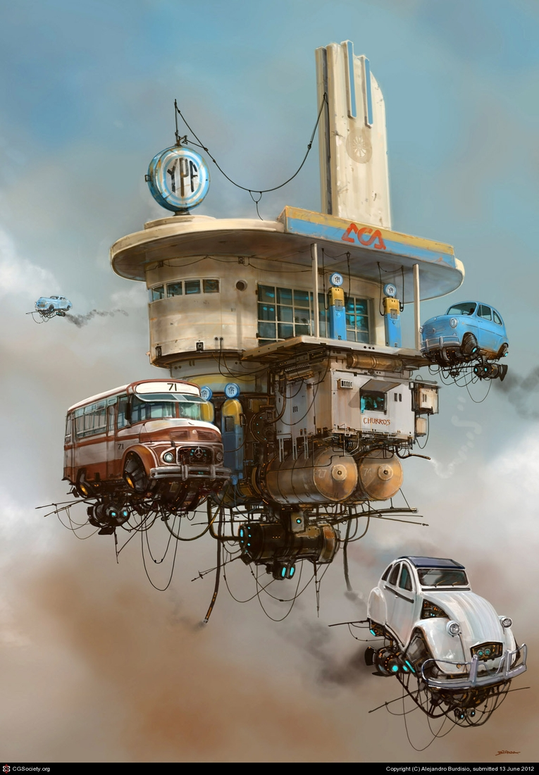 15-Servicentro-YPF-YPF-Gas-Station-Alejandro-Burdisio-Fantasy-Illustrations-in-the-Scrap-Metal-Universe-www-designstack-co