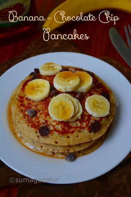Eggless Banana – Chocolate Chips Pancakes