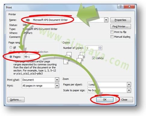Gambar: Cara melakukan print / mencetak mulai dari halaman belakang menuju ke halaman depan  di Microsoft Word 2007