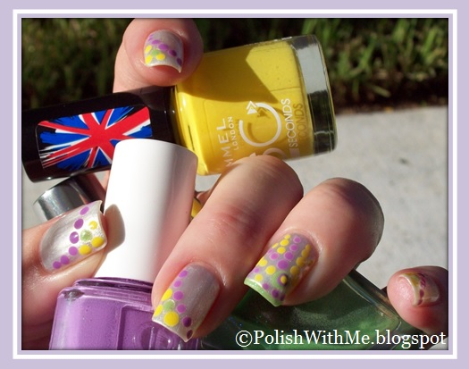 nail art, inm, out the door, pure ice, essie, rimmel, platinum, free spirit, play date, sunny days, dotticure