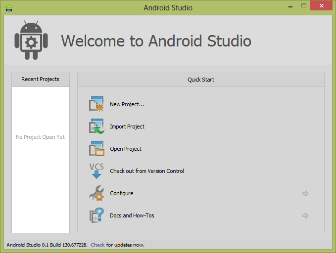 how to start android studio windows 8 64bit