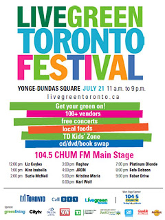Live Green Toronto Festival July 21, 2012, poster by livegreentoronto.ca