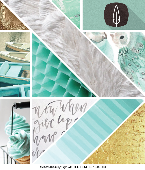 moodboard aqua gold pastel feather studio