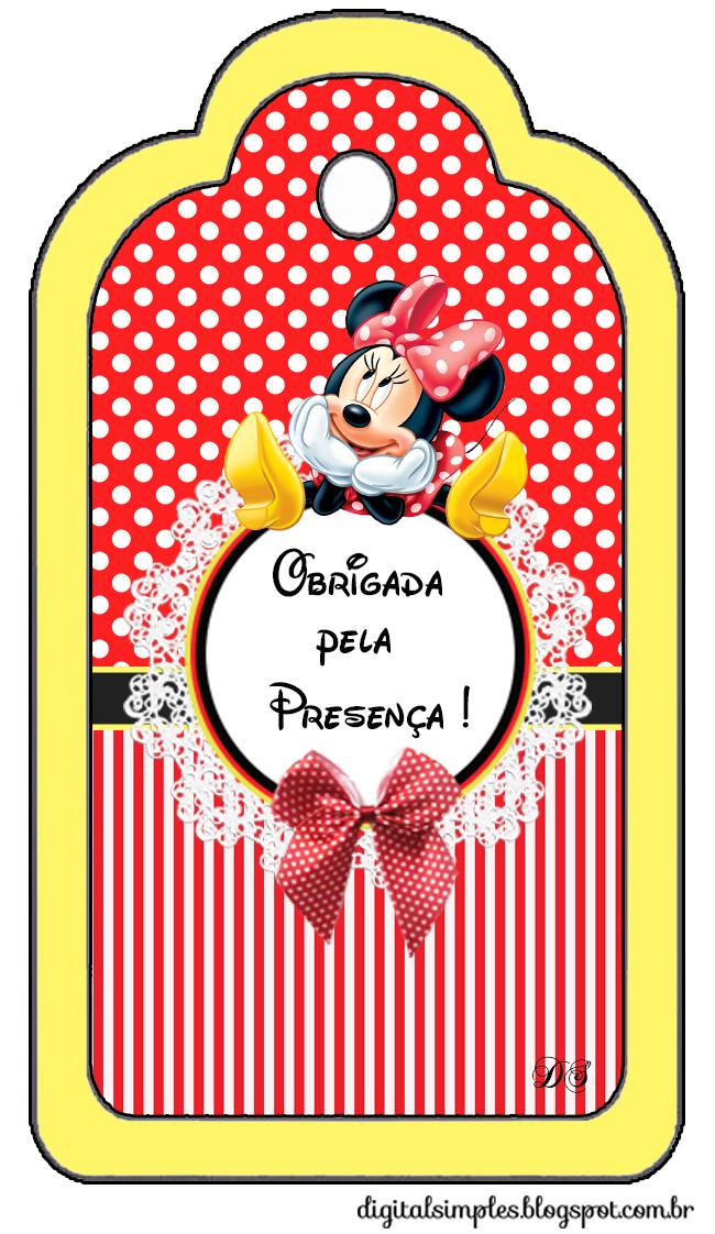 "Kit Aniversário Personalizados Tema ""Minnie Vermelha"" para Imprimir"