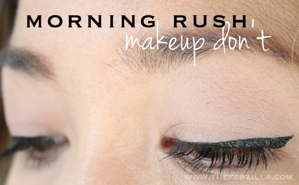 morning rush, beauty talk, makeup when you're rushing, kat von d tattoo liner trooper, makeup tips, how to cat eyes, graphic eyes