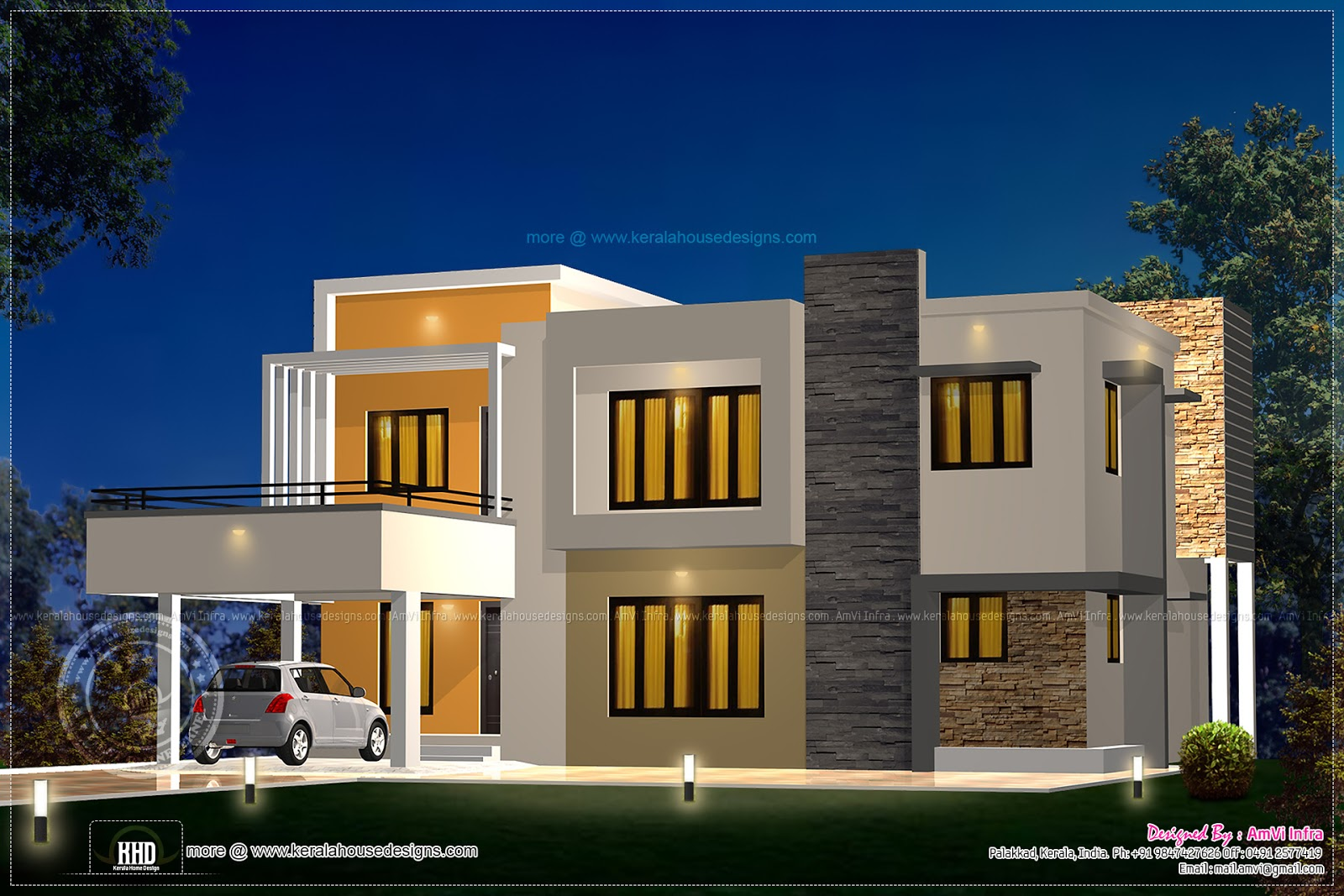 Floor plan and elevation 2277 sq ft house kerala home for Kerala home design flat roof elevation