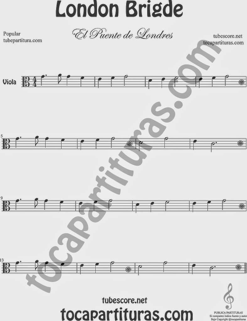 El Puente de Londres Partitura de Viola Sheet Music for Viola Music Score London Bridge