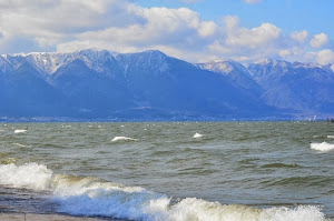 Lake Biwa and snow capped mountains