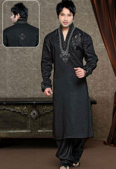 Black Kurta Collection for men   Black Indian Kurta For Gents   Color