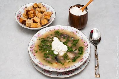 суп с шампиньонами, сухарями и сметаной
