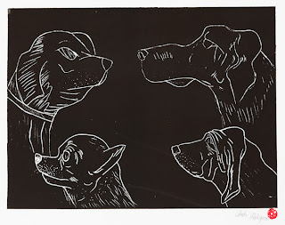 Piece of artwork entitled Dogs by Quintin Rodriguez, with four different dog head studies