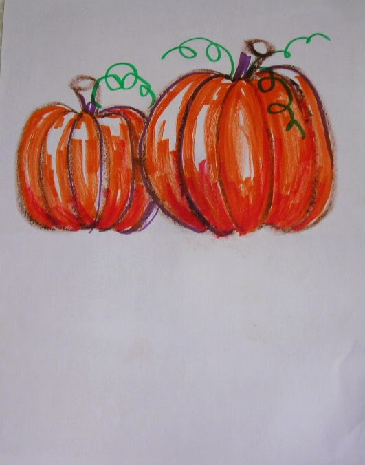pumpkin drawing with shading. when their drawings are done, students paint plain water (lightly) on the bottom half of drawing and fold it up onto drawing. pumpkin with shading d