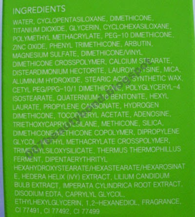 ingredients list from the Skin79 Silky Green Super Plus Beblesh Balm SPF 30 bb cream for pale skin tones