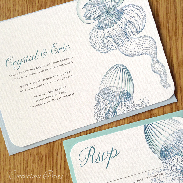 Cape Cod wedding blog photo from Concertina Press - Stationery and Invitations about Jellyfish Wedding Invitations for a wedding in Kauai Hawaii
