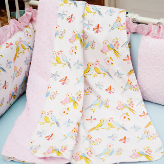 Baby Girl Crib Bedding: Love Birds Crib Blanket by Carousel Designs