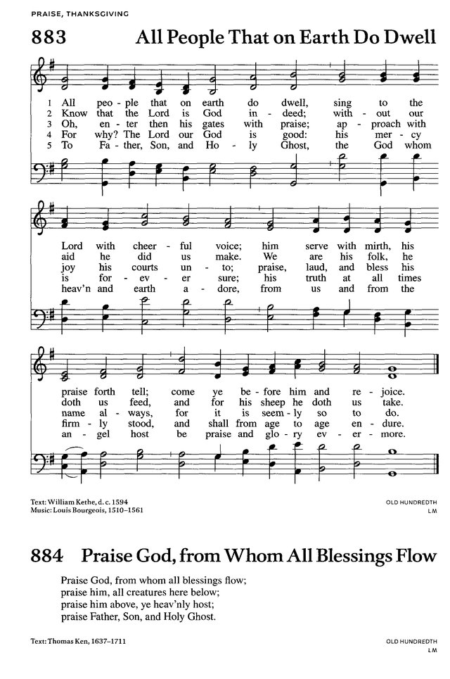 Songs Of Praises All People That On Earth Do Dwell Old 100th