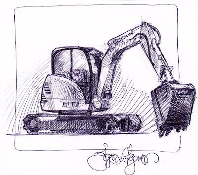 excavator sketch, drawing