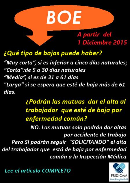 Mobbing Madrid Nuevo sistema de altas y bajas médicas IT a partir del 1 de diciembre