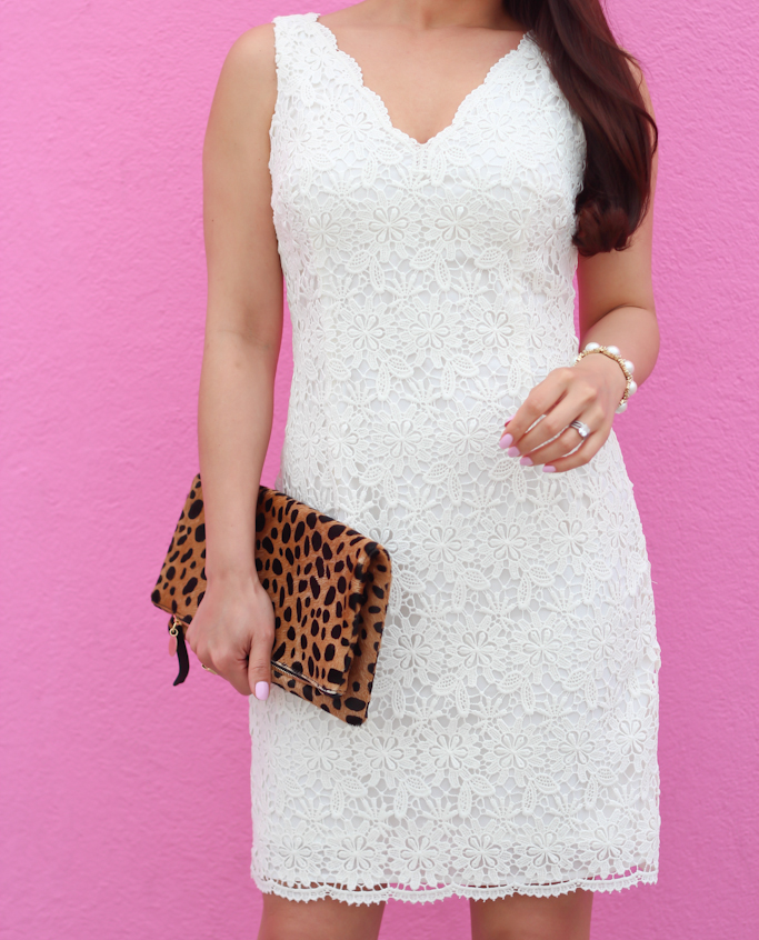 Ann Taylor scalloped lace dress Clare V leopard foldover clutch pearl cabochon bracelet baby pink nail polish