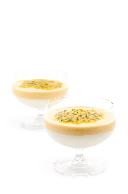 Raw mango and coconut cream with passion fruit duo