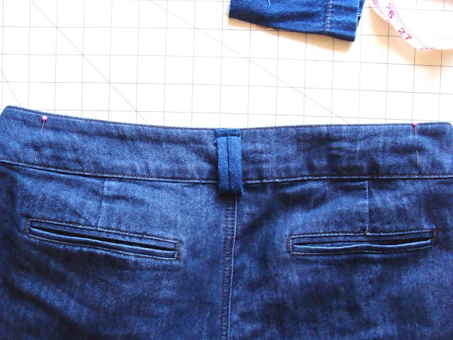How many belt loops are on pants? Usually 5. Measure and mark where you'll sew your loops.