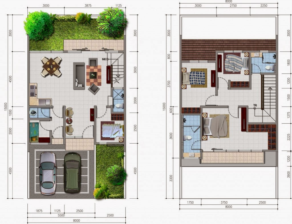 desain rumah mewah luas tanah 96 meter 8x12
