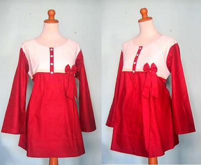 Model Baju Hamil Kerja Terbaru Merah Putih