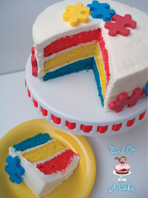You could also color your cake layers to match the puzzle pieces. :0) title=