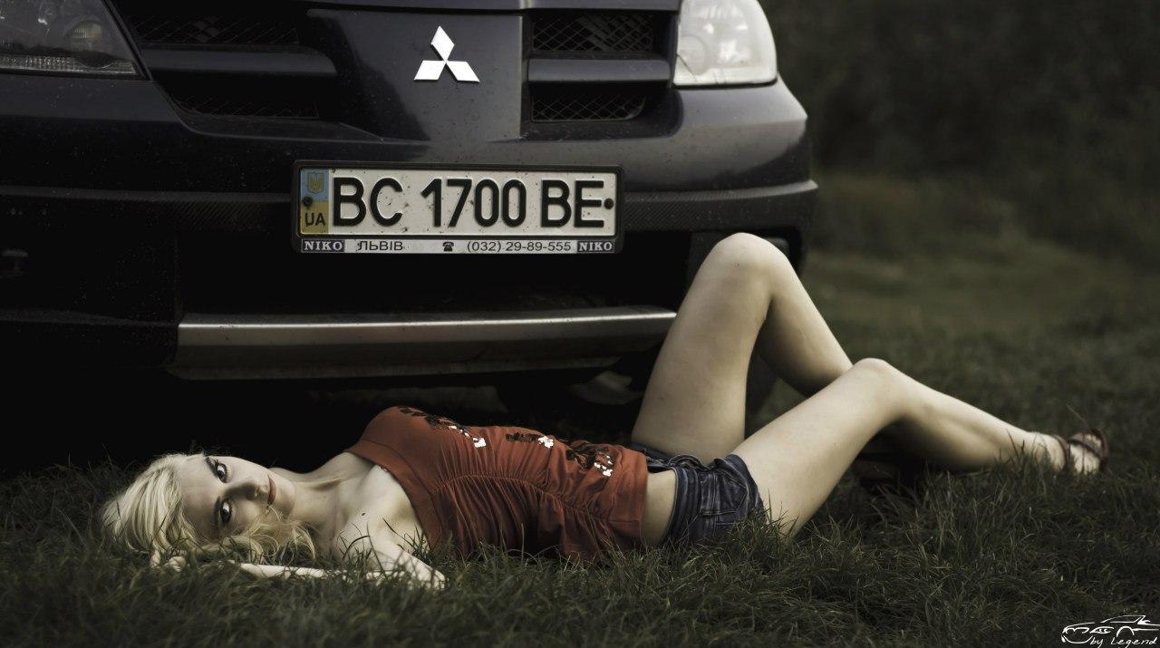 kobiety, dziewczyny, samochód, sesja, mitsubishi