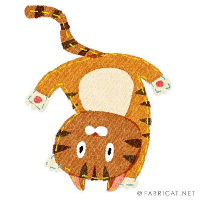でんぐり返しをしている可愛い猫のイラスト