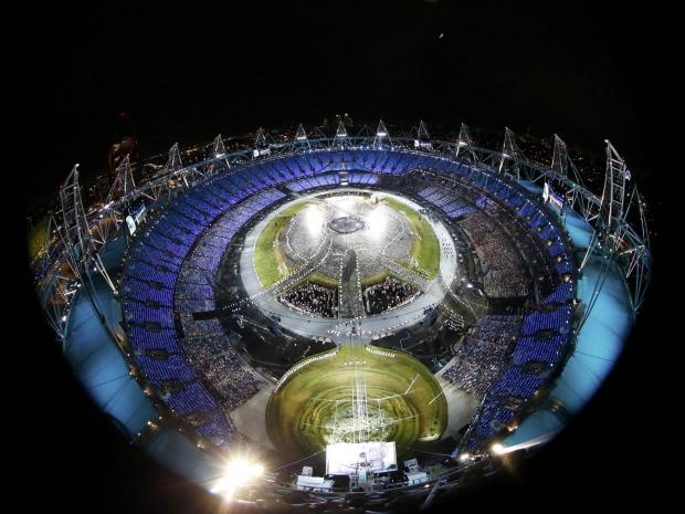 Picture shows a general view of the opening ceremony of the London 2012 Olympic Games at the Olympic Stadium REUTERS/PAWEL KOPCZYNSKI