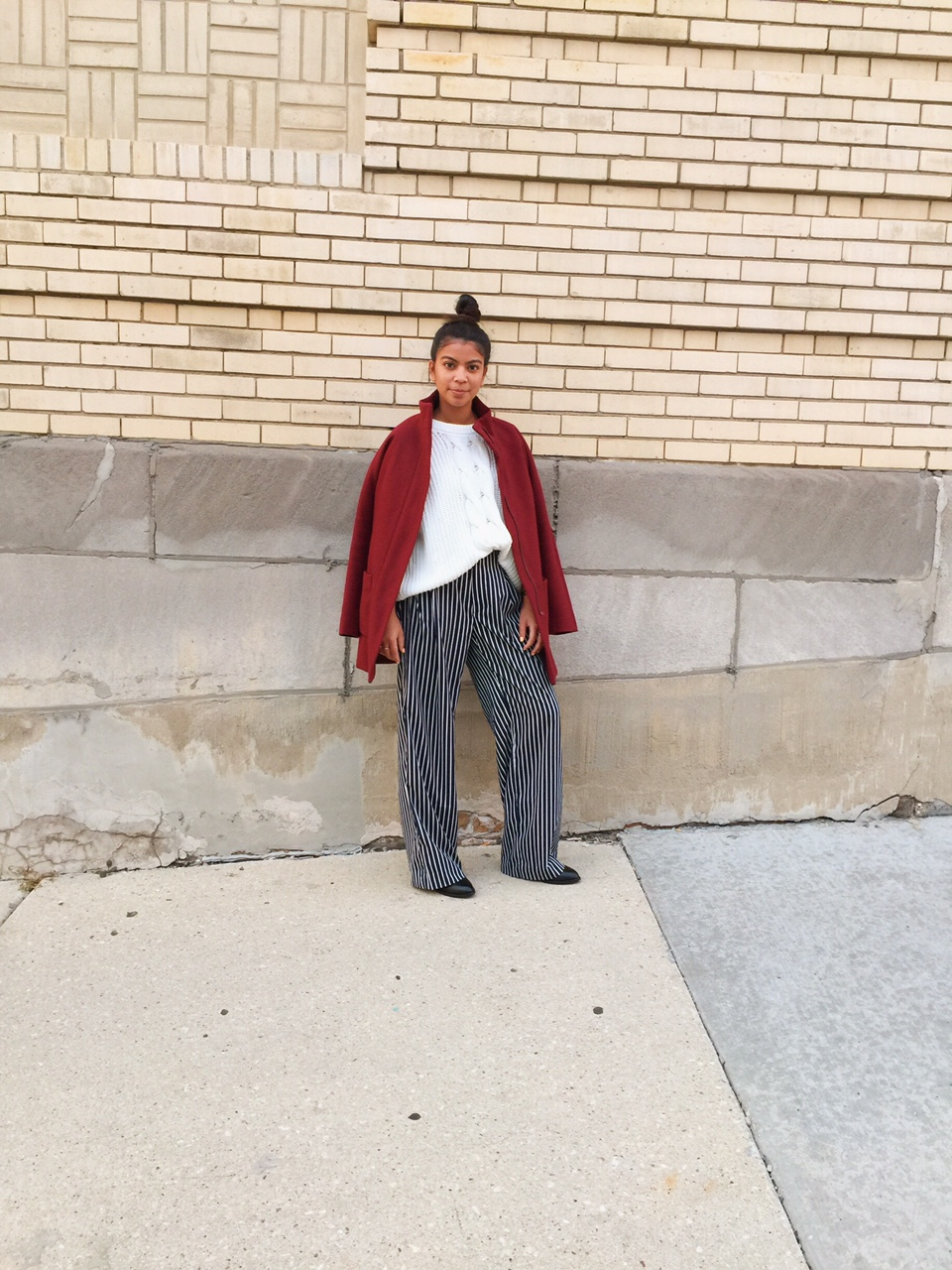 gcgme, wide leg pants, stripe pants, portland blogger, ad, portland fashion blogger, affordable fashion, ootd, white sweater, black booties, filipino fashionista, locations and destinations,