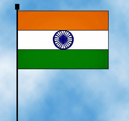 India flag on blue and white clouds