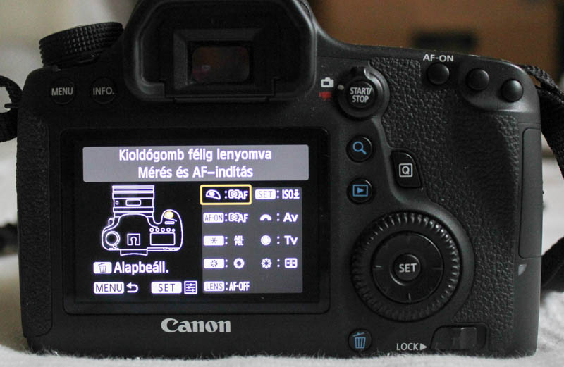 Canon 6D AF-ON beállítása: Exponálógomb