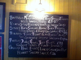 Stitch and Bear - Chalkboard with evening specials at the Fatted Calf, Glasson