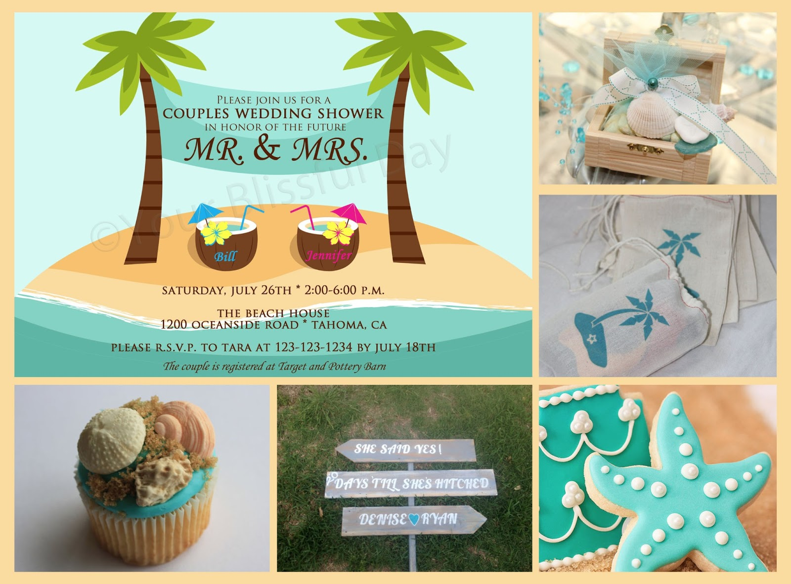 Beach Couples Wedding Shower Party Ideas