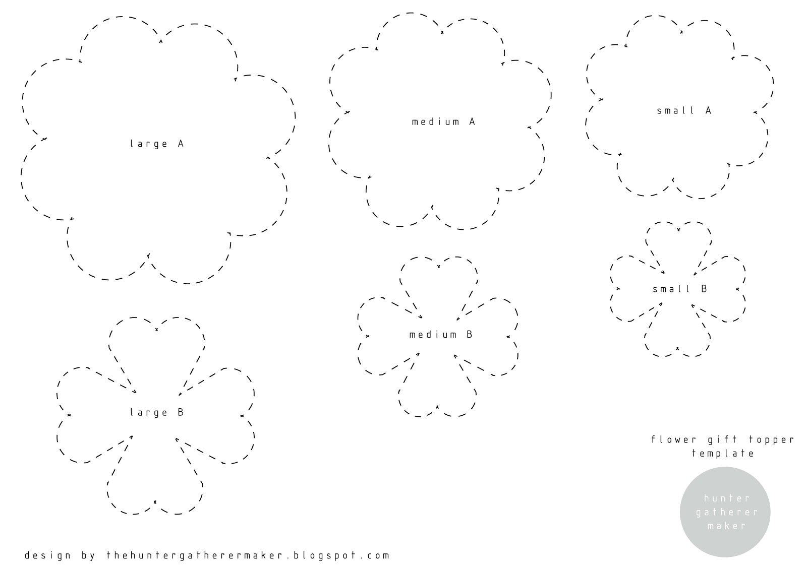 big flower paper template - hunter gatherer maker